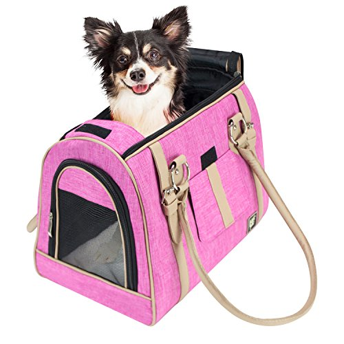 - FrontPet Luxury Handbag Dog Purse, Stylish Soft Sided Pet Carrier for Small Dogs and Cats, Pink