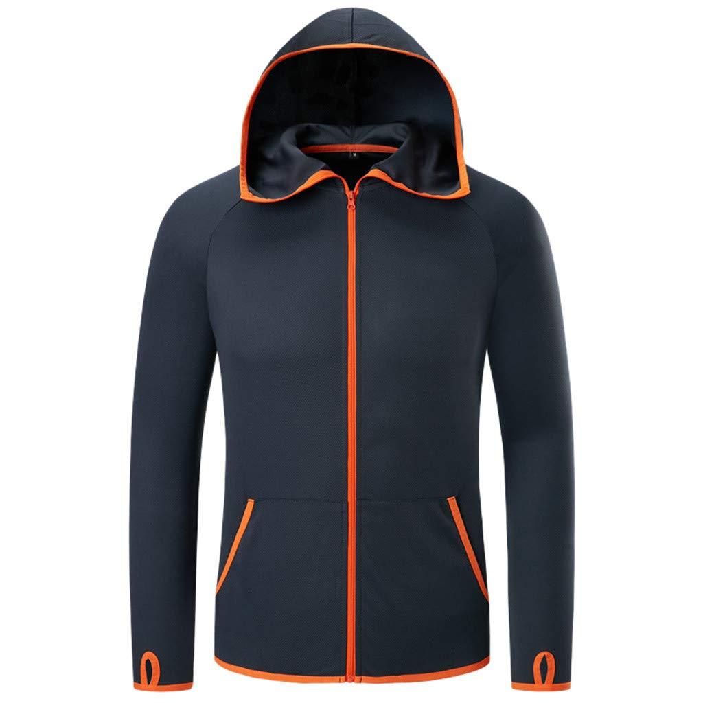 Tilxuv Men's Top Jacket, Windproof Outdoor Quick Dry Coat Anti-dust Sunscreen Waterproof Jacket (Black, M)