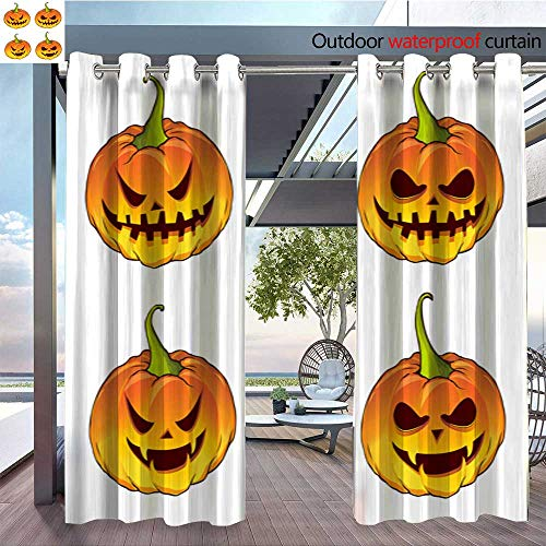 Outdoor- Free Standing Outdoor Privacy Curtain sets-of-pumpkin-for-the-holiday-Happy-Halloween--vector-isolated-on-white-background.jpg for Front Porch Covered Patio Gazebo Dock Beach Home W120