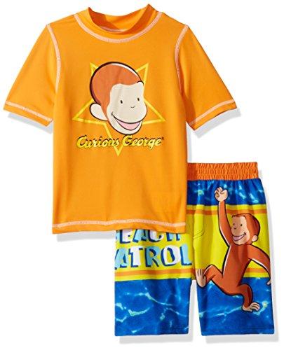 - Curious George Boys' Beach Patrol 2-Piece Swim Set, Toddler Orange/Blue, 4T