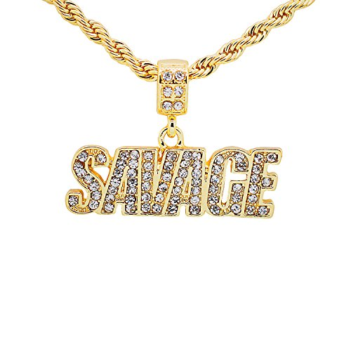 Yellow Gold-Tone Hip Hop Bling Pave Stones Savage Letter Pendant with 24