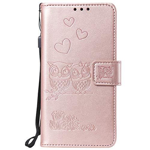 NEXCURIO Huawei Mate20 Lite 케이스 수첩 형식 PU 가죽 케이스 충격 카드 수납 스탠드 기능 자석 식 파로 Mate20lite 케이스 휴대 커버 멋쟁이-NEHHA100553 로즈 골 드 / NEXCURIO Huawei Mate20 Lite Case Notebook Type PU Leather Case Shock Ca...