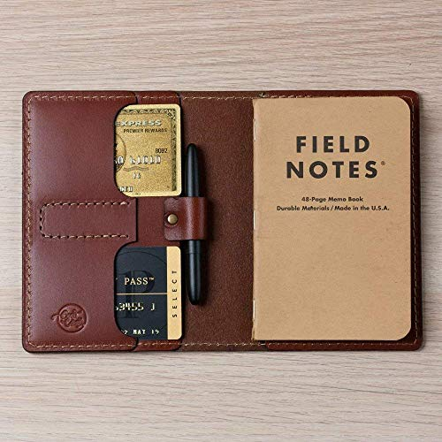Coal Creek Leather Field Notes Cover with Pen Holder/Moleskine Cover - Full Grain Wickett & Craig Leather/Moleskine Wallet/Minimalist/External Pen Holder/Moleskine Pen / FLD2 / Personalized
