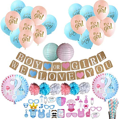 Gender Reveal Party Supplies | Baby Shower Gender Reveal Decorations Kit for Boy or Girl with 87 Premium Items Including Balloons, Pompoms, Photo Booth Props, Banners, Lanterns, -