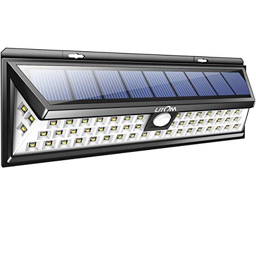 Litom Super Bright Solar Lights 54 LED Solar Power Outdoor Motion Sensor Light With LED on Both Side