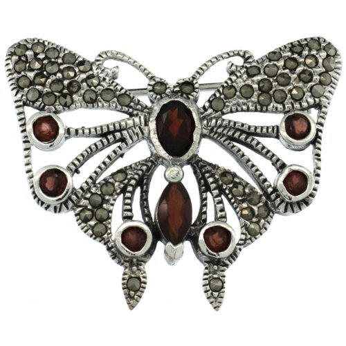 Sterling Silver Marcasite Butterfly Brooch Pin w/ Round, Oval & Marquise Cut Garnet Stones, 1 1/4 in. (32mm) tall