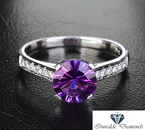 14k Round Cut Amethyst Solitaire Dual Pave Shank Gemstone Engagement Ring