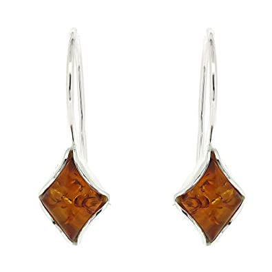Classic Amber Sterling Silver and Diamond Shaped Cognac Amber Drop Earrings with Fixed Hook and Safety Catch bwQvbkgNX