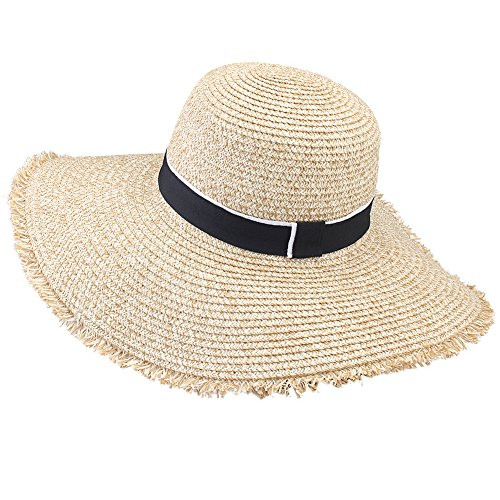 Womens Sun Straw Hat Wide Brim UPF 50 Summer Hat Foldable Roll up Floppy Beach Hats for Women (SH046 Mixed Beige, L (Head Circum 22.6