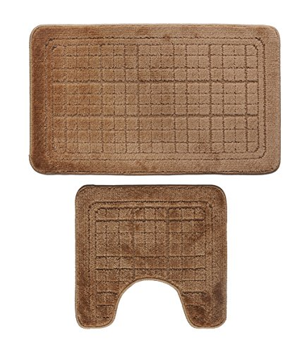 Waroom Home Bathroom Mats Set 2 Piece, Extra Soft Latex Back