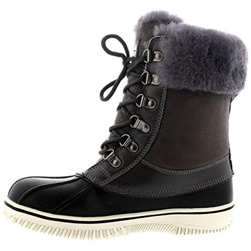 Polar Donna Genuina Pelle Di Pecora Australiana Cuff Inverno La Neve A Passeggio Impermeabile Scarpe Stivali - Grigio - UK5/EU38 - YC0470