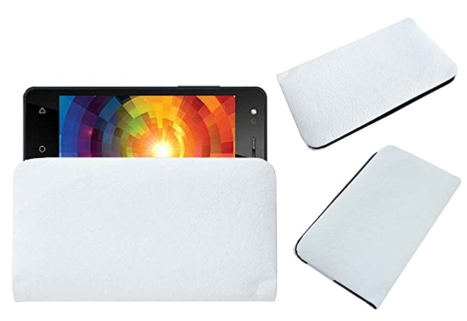 Acm Rich Soft Carry Case Compatible with Intex Aqua Eco 4g Mobile Handpouch Leather Cover Pouch White Mobile Accessories