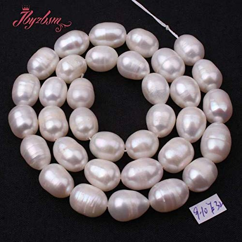 Calvas 5-6,8-9,9-10mm Oval White Freshwater Pearl Beads Natural Stone Beads for DIY Necklace Bracelet Jewelry Making 15