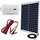 ECO-WORTHY 20 Watts 12V Solar Panel Kit: Waterproof 20W Solar Panel + USB Port Charge Controller + 6 feet Isolated Battery Clips for Light, Gate Opener, Chicken Coop