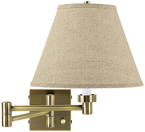 Fine Burlap Empire Antique Brass Swing Arm Wall Lamp