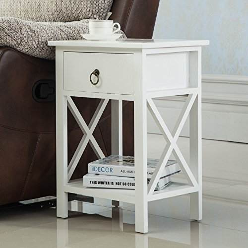 white-sofa-end-side-table-nightstand-bedside-storage-wood-bedroom-w-drawer-shelf