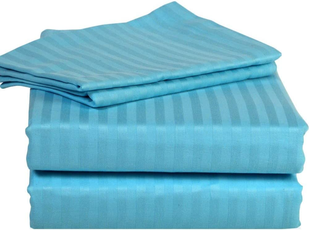 CLASSIC HOME COLLECTION Hotel Luxury Certified 100% Cotton { 1800-TC } 4-PCs Sheet Set Fits Mattress 4-6'' Deep Pocket (Queen Size) Best Sheets for Bed (Stripe, Turquoise)