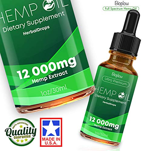 Hemp Oil Drops 2500mg, 100% Natural Extract, Supports Anti-Anxiety and Stress Health, All Natural Dietary Supplement, Rich in Omega 3 & 6 Fatty Acids for Skin & Heart Health, Vegan Vegetarian Friendly