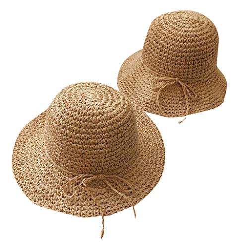Fine Parent-Child Hat Natural Paper Straw Woven Makes The Beach Sun Hat Sun Prote Ction, Casual Sun Hat, Straw Hat, Beach Hat (Coffee)