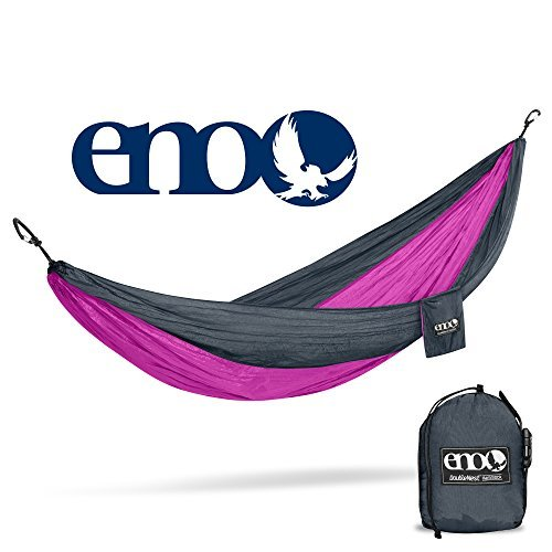 ENO Eagles Nest Outfitters - DoubleNest Hammock, Portable Hammock for Two, Charcoal/Fuchsia (Doublenest Hammock Pink Eno)