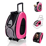 ibiyaya 4 in 1 Pet Carrier + Backpack + CarSeat + Carriers on Wheels for Dogs and Cats (Pink)