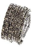 Trendy Fashion Jewelry Square Metal Detailed Multi Stretch Bracelet By Fashion Destination