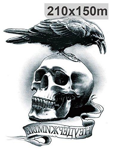 ximkee 5pcs Cuervo calavera Tatuajes Temporales Pegatinas para ...