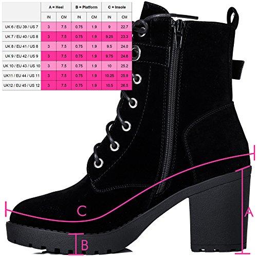 Bloc Daim Simili À Chaussures Noir Lacet Spylovebuy Femmes Talon Kila Bottines wUHHBXqZ