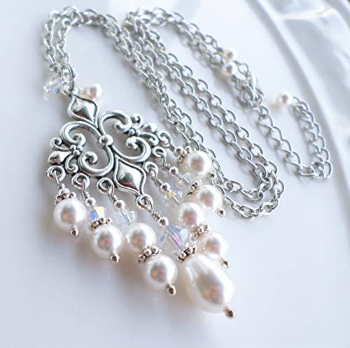 Crystal Pewter Chandelier - White Swarovski Pearl Crystal Antique Silver Pewter Chandelier Wedding Necklace