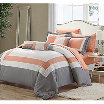 10 Piece Kayla Navy/Gray with Sheets Comforter Set Queen