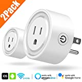 Wi-Fi Smart Plug, 2Pack Powerman Mini Wifi Outlets Smart Socket Compatible with Amazon Alexa Google Home, No Hub Required, Wifi enabled Remote Control Smart Socket (White)