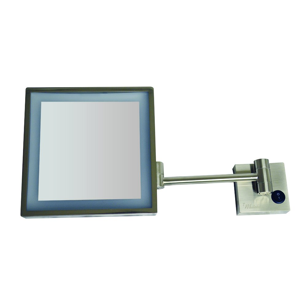 Whitehaus Collection WHMR25-BN Whitehaus Mirrors Square Wall Mount LED 5X Magnified, Brushed Nickel