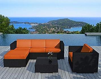 Rangiroa Orange - Salon de jardin en résine tressée: Amazon.fr: Jardin