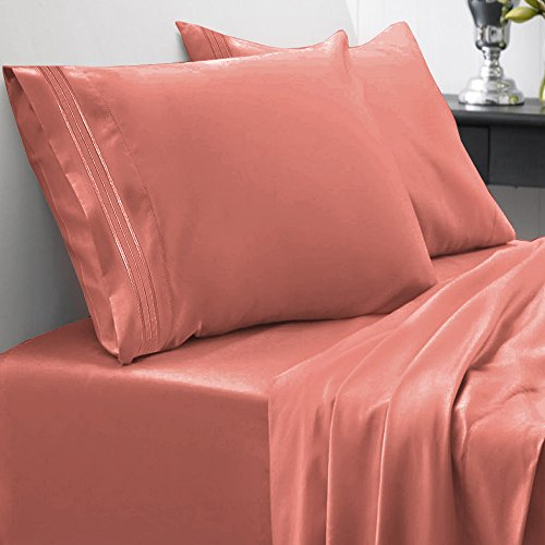 Sweet Home Collection 1800 Thread Count Egyptian Quality Brushed Microfiber 4 Piece Deep Pocket Bed Sheet Set, California King, Rust