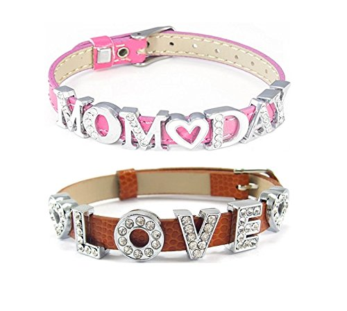 Personalized Adjustable 8MM Slide Charm Bracelet with Choice of 8 Charms (Faux Snake Skin Leather, (Cutting Edge Costume Company)