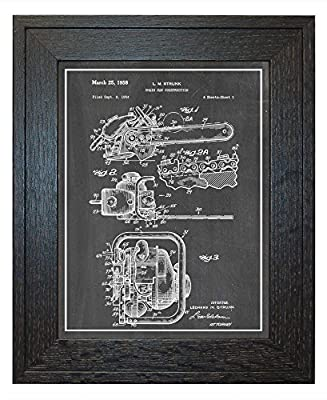 Chain Saw Patent Art Print with a Border in a Rustic Oak Wood Frame M14275