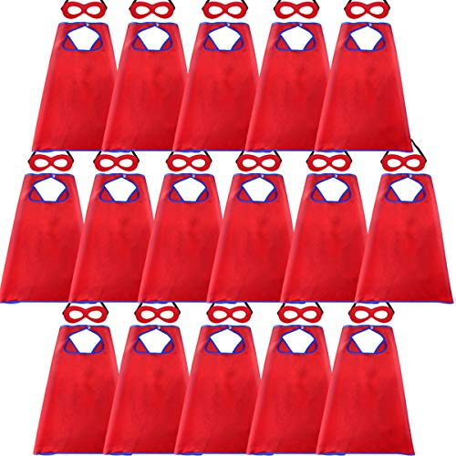 Super Hero Capes and Masks for Kids Bulk - Superhero Dress Up Party -16 Pack (Red)