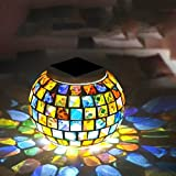 XADREZ Mosaic Solar Light, LED Multicolor Table Lamp Glass Ball Color Changing Solar Outdoor Decorative Lighting for Home Garden Patio Party