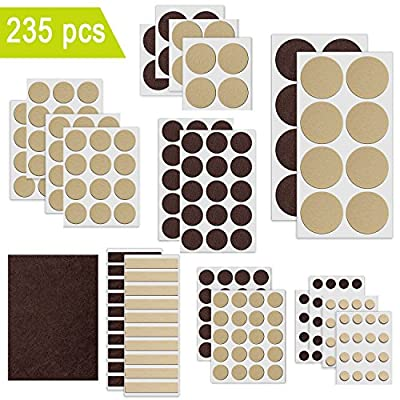 Felt Furniture Pads, Ultra Large Pack Felt Pads 235pcs Two Color, Self Adhesive Heavy Duty Furniture Pads, Anti Scratch Floor Protectors for Chair Legs, Protect Your Hardwood Flooring, Tile Floor