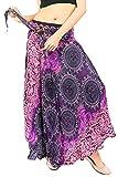 vvProud Women's Long Hippie Bohemian Skirt Gypsy Dress Boho Clothes with Jango Flowers | One Size Fits Asymmetric Hem Design (Purple Flower)