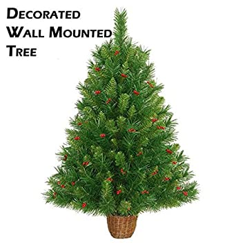 Decorated Wall Mounted Christmas Tree 4.5ft/1.35m for restricted ...