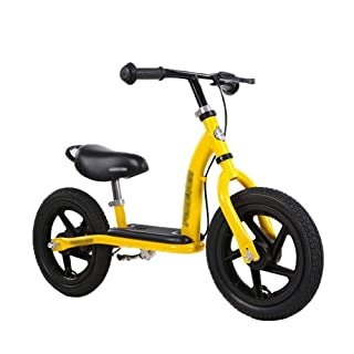 Balance Bike with Brake/Pedals, Rubber Wheel Training Bikes for 2/3/4/5/6 yr Kid Child Toddler, Yellow