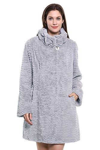 Adelaqueen Women's Winter Persian Lamb Fabulous Faux Fur Coat Stylish Outerwear Grey Without Hood Size XXL by Adelaqueen