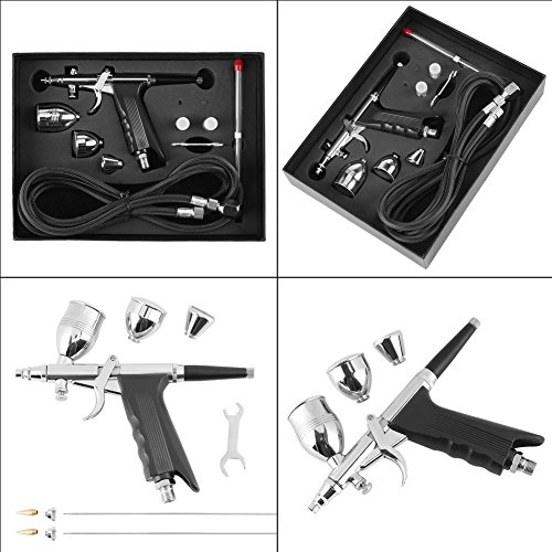 GOTOTOP Gravity Feed Airbrush Set,Gravity Paint Spray Gun with 3 Nozzle Sets (0.3, 0.5 & 0.8 mm) for color models, leather clothes, car painting by GOTOTOP (Image #7)