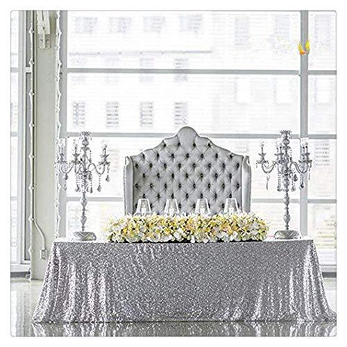 SoarDream Silver Sequin Table Cloth 90