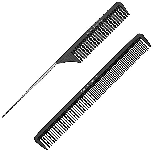 "Styling Comb and Rattail Comb Set - Professional 8.75"" Black Carbon Fiber, Anti Static Chemical And Heat Resistant Combs For All Hair Types - By Bardeau - Black Professional Comb"