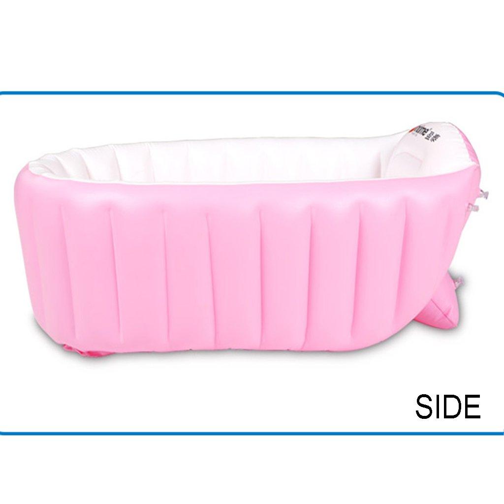 Bathtubs Freestanding Foldable Inflatable Infant Children Bath Home Inflatable Pink Blue (Color : Pink)