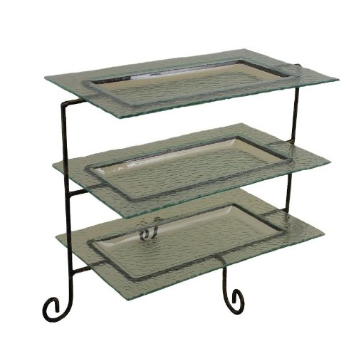 Essential Décor Entrada Collection 3-Piece Glass Plate with Metal Stand
