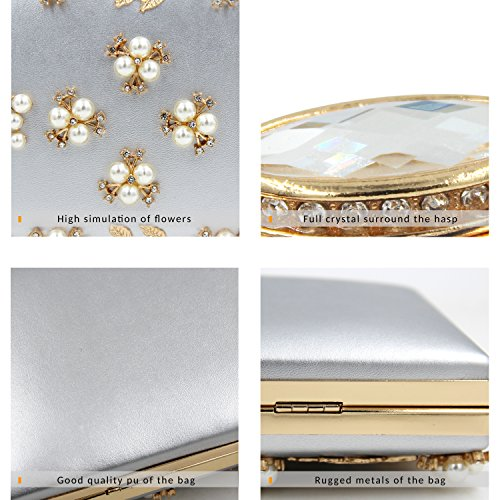 Purse Pearl Women Handbag Clutch Evening Beaded Bag Milisente Sliver qw7Ht0w