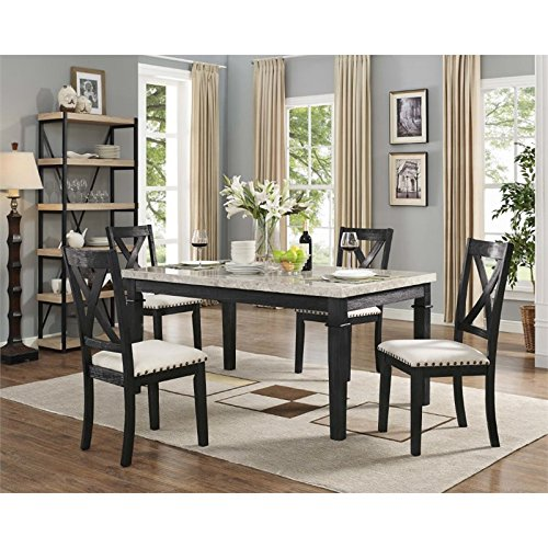 Picket House Furnishings Bradley 5 Piece Marble Top Dining ()